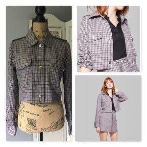 Wild Fable Cropped Plaid Shirt Jackst Sz S